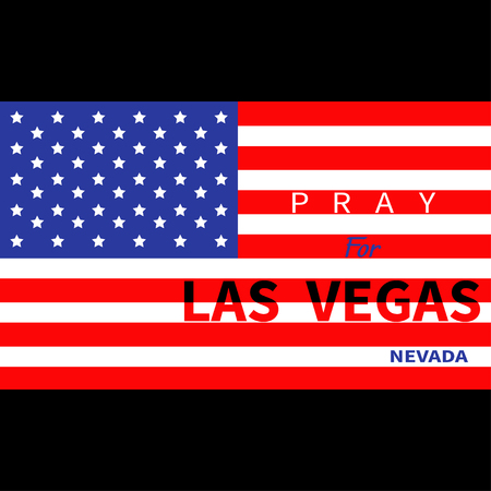 nevada: Pray for Las Vegas Nevada. American flag. Tribute to victims of terrorism attack mass shooting in LV October 1, 2017. Support for volunteering. Helping concept. Flat design. Black background. Vector Illustration