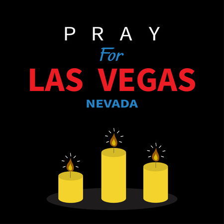nevada: Three burning candles. Pray for Las Vegas Nevada text. Tribute to victims of terrorism attack mass shooting in LV October 1, 2017. Helping support concept. Flat design. Black background. Vector