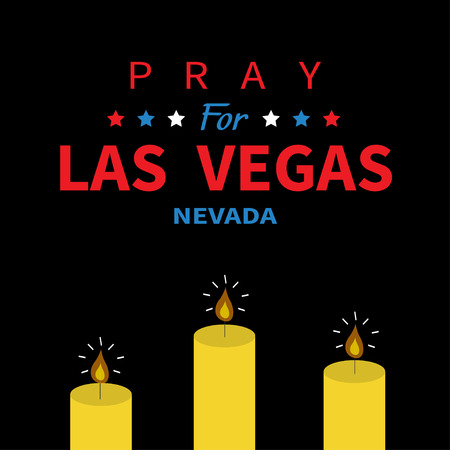 nevada: Burning candle fire set. Pray for Las Vegas Nevada text. Tribute to victims of terrorism attack mass shooting in LV October 1, 2017. Helping support concept. Flat design. Black background. Vector Illustration