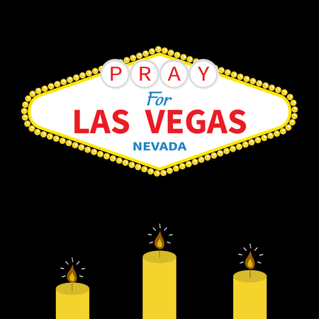 nevada: Welcome to Las Vegas sign Candle set. Pray for LV Nevada. October 1, 2017. Tribute to victims of terrorism attack mass shooting. Helping support concept. Flat design. Black background. Vector