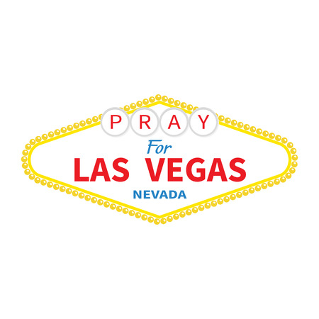 nevada: Welcome to Las Vegas sign. Pray for LV Nevada. Tribute to victims of terrorism attack mass shooting. October 1, 2017. Support for volunteering. Helping concept. Flat design. White background. Vector