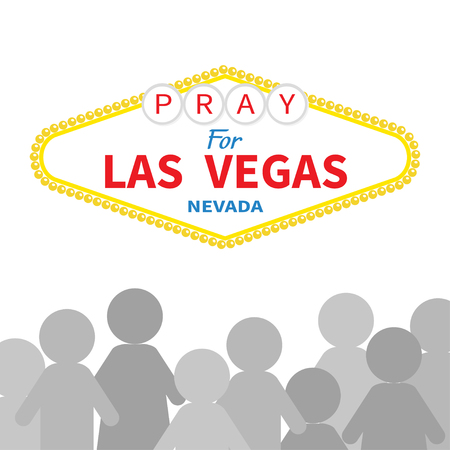 nevada: Welcome to Las Vegas sign. Pray for LV Nevada. People silhouette. Tribute to victims of terrorism attack mass shooting. October 1, 2017. Helping concept. Flat design. White background. Vector