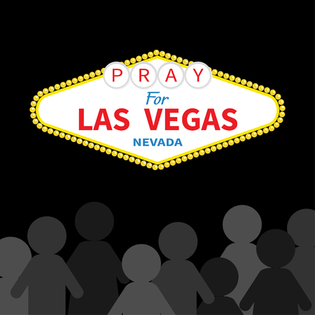 nevada: Welcome to Las Vegas sign. Pray for LV Nevada. October 1, 2017. People silhouette. Tribute to victims of terrorism attack mass shooting. Helping concept. Flat design. Black background. Vector