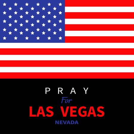 nevada: American flag. Pray for Las Vegas Nevada. Tribute to victims of terrorism attack mass shooting in LV October 1, 2017. Support for volunteering. Helping concept. Flat design. Black background. Vector