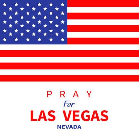 nevada: American flag. Pray for Las Vegas Nevada. Tribute to victims of terrorism attack mass shooting in LV October 1, 2017. Support for volunteering. Helping consept. Flat design. White background. Vector
