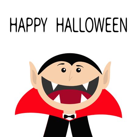 Happy Halloween. Count Dracula head face wearing black and red cape. Cute cartoon vampire character with fangs. Big mouth. Greeting card. Flat design. White background. Isolated. Vector illustration
