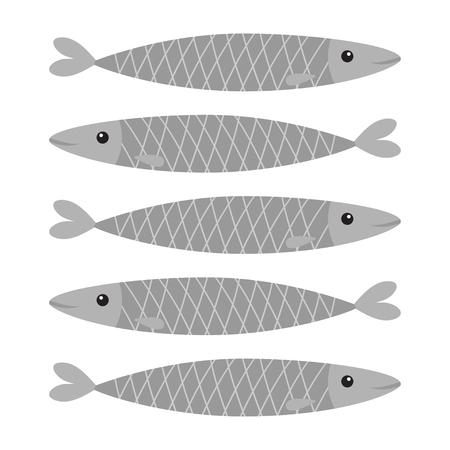 Set di icone di pesce grigio sardina. Iwashi. Sardina pilchardus. Personaggio simpatico cartone animato. Acciuga sardina Animale acquatico Vita marina. Design piatto. Sfondo bianco. Isolato. Illustrazione vettoriale