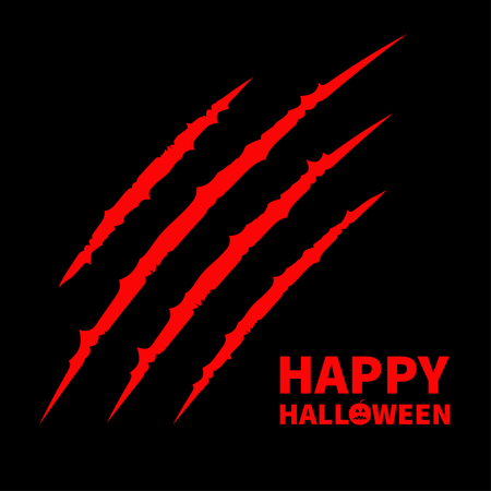 Happy Halloween pumpkin text. Red bloody claws animal scratch scrape track. Cat tiger scratches paw. Four nails trace. Flat design. Black background. Vector illustration