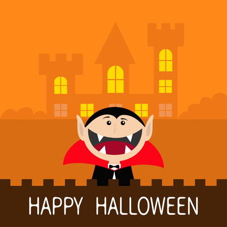 Happy Halloween. Count Dracula head face wearing black and red cape. Cute cartoon vampire character with fangs. Castle hauted house light windows. Greeting card. Flat design. Orange background. Vector