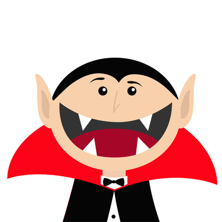 Cara del conde Drácula con capa negra y roja. Personaje de vampiro de dibujos animados lindo con colmillos. Boca grande. Feliz Halloween. Tarjeta de felicitación. Diseño plano. Fondo blanco. Aislado. Ilustración vectorial Ilustración de vector