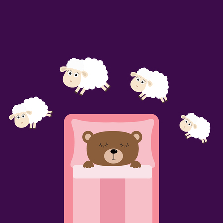 Cute sleeping bear. Jumping sheeps. Cant sleep going to bed concept. Counting sheep. Animal set. Pink blanket and pillow. Baby collection. Flat design. Violet background. Isolated. Vector illustration