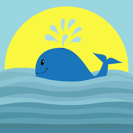 Whale with water fountain. Sea ocean wave. Sunset. Cute cartoon character with eyes, tail fin. Smiling face. Kids baby animal collection. Flat design Blue background Isolated. Vector illustration