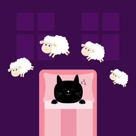 Cute sleeping cat. Jumping sheeps. Cant sleep going to bed concept. Counting sheep. Animal set. Blanket pillow room two windows. Baby collection. Flat design. Violet background. Isolated. Vector 向量圖像