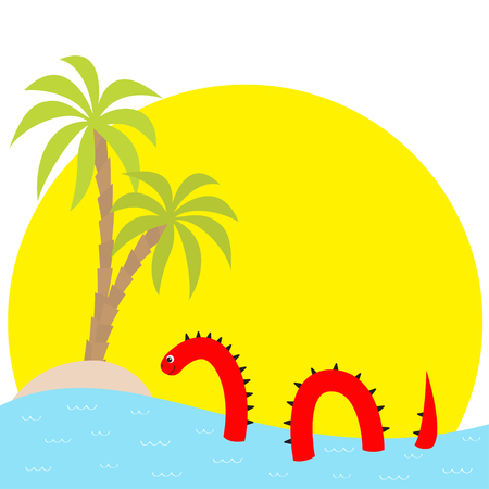 Water monster thorns, eye, tail Swimming floating Sea ocean sunset palm island. Snake shape. Loch Ness Nessy fictional creature. Cute cartoon character. Baby collection. Flat White background Vector Illustration