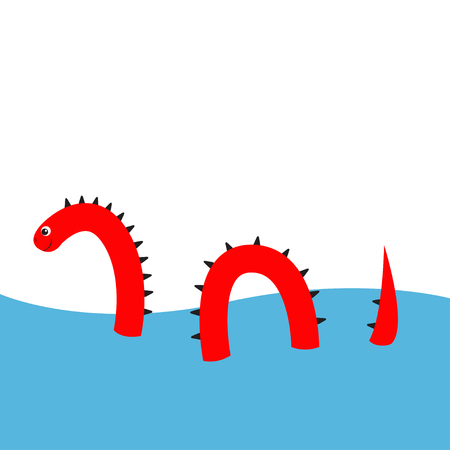 Water monster with thorns, eye, tail Swimming floating Sea ocean. Snake shape. Loch Ness Nessy fictional creature. Funny Cute cartoon character. Baby collection. Flat design. White background. Vector Illustration