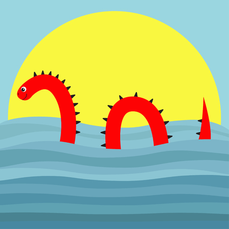 Water monster with thorns over the sunset vector illustration