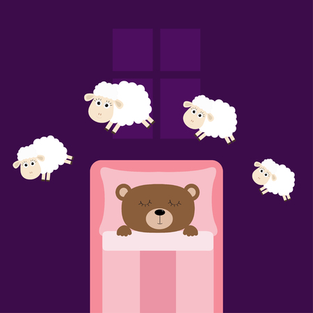 Cute sleeping bear. Jumping sheeps. Cant sleep going to bed concept. Counting sheep. Animal set. Blanket pillow room window. Baby collection. Flat design. Violet background. Isolated. Vector