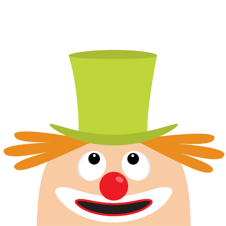 Clown face head looking up. Big eyes, red nose, mouth smile, orange hair. Magician hat. Cute cartoon funny baby character. Circus symbol. Flat design. White background. Isolated. Vector illustration