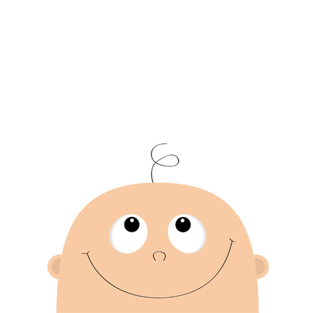 Baby shower greeting card template. Kid face looking up. Cute cartoon character. Funny head with hair, eyes, nose, smiling mouth. Its a boy. Flat design. White background Isolated. Vector illustration