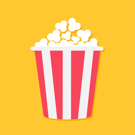 Popcorn. Big red yellow strip box. Cinema movie night icon in flat design style. Yellow background. Isolated. Vector illustration Illustration