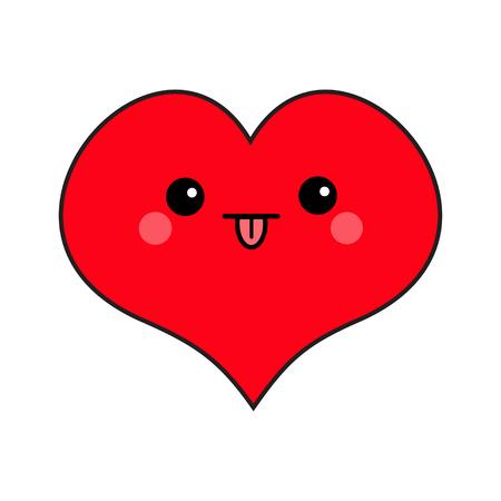 Cabeza de cara de corazón rojo. Personaje sonriente divertido de dibujos animados lindo. Ojos, boca, lengua afuera, mejillas ruborizadas. Feliz día de San Valentín símbolo de signo. Diseño plano. Tarjeta de felicitación. Aislado. Fondo blanco. Vector