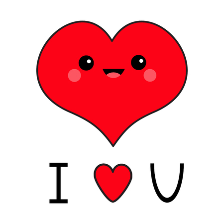 I love you. Red heart face head. Exclamation point. Cute cartoon funny smiling character. Eyes, mouth, blush cheek. Happy Valentines day. Flat design. Greeting card. White background. Vector Illustration