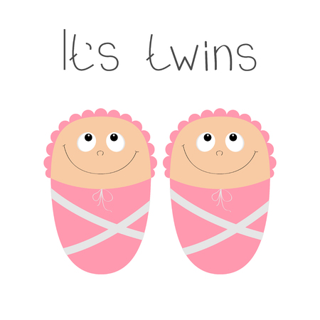 Baby shower card. Its twins girl. Cute cartoon character. Funny head looking up. Smiling face with eyes, nose, mouth smile. Pink swadding cloth and hat Flat design White background Vector illustration Ilustração