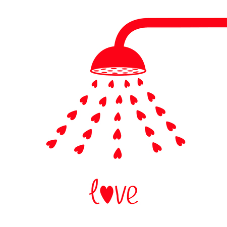 Red shower bath douche with red hearts water aqua drops. Love greeting card. Happy Valentines Day sign symbol. Flat design. White background. Isolated. Vector illustration.
