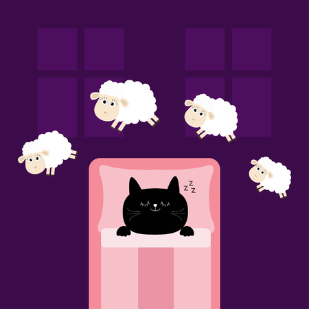Cute sleeping cat kitten. Jumping sheeps. Cant sleep going to bed concept. Counting sheep. Blanket pillow room two windows. Animal set. Baby collection. Flat design. Violet background. Vector Çizim