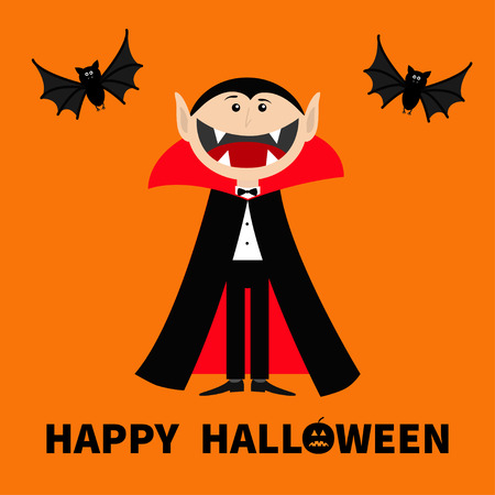 Count Dracula wearing black and red cape. Cute cartoon vampire character with big open mouth, tongue and fangs Two flying bat animal. Happy Halloween. Flat design Orange background Vector illustration Vettoriali