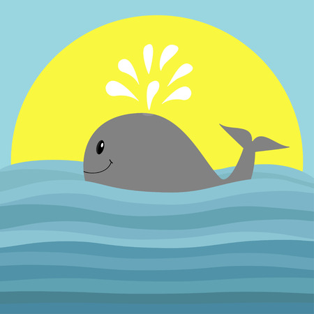 Gray whale with water fountain. Sea ocean wave. Sunset. Cute cartoon character with eyes, tail fin. Smiling face. Kids baby animal collection. Flat design Blue background Isolated. Vector illustration Illustration