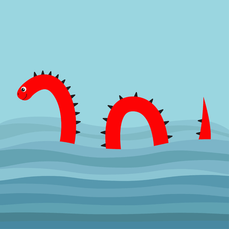 Water monster with thorns, eye, tail Swimming floating Sea ocean wave. Snake shape. Loch Ness Nessy fictional creature. Cute cartoon character. Baby collection. Flat design. Blue background. Vector