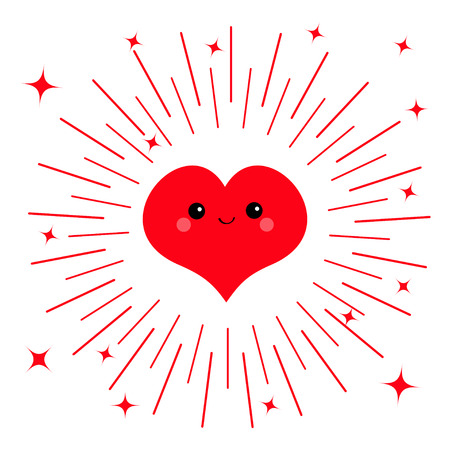 Red heart face head icon. Cute cartoon kawaii funny smiling character. Eyes, mouth, blush cheek. Round line shining star circle. Happy Valentines day. Flat design Greeting card White background Vector Ilustração