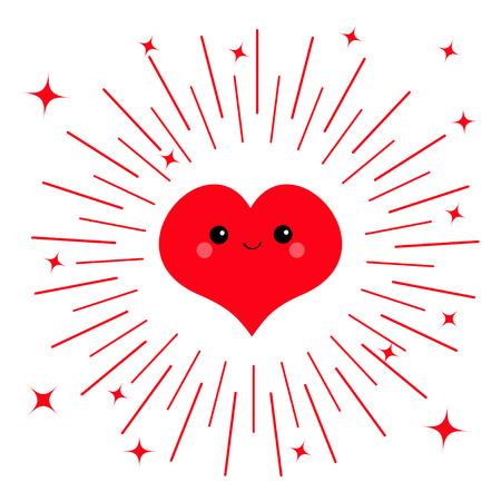 Rood hart gezicht hoofd pictogram. Leuk beeldverhaalkawaii grappig glimlachend karakter. Ogen, mond, blos wang. Ronde lijn glanzende stercirkel. Fijne Valentijnsdag. Platte ontwerp wenskaart Witte achtergrond Vector Stock Illustratie