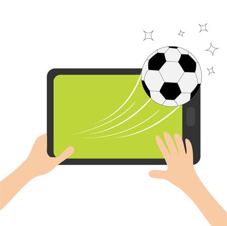 両手は、サッカー ボールを搭載したタブレットします。  イラスト・ベクター素材