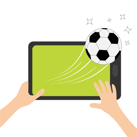 Two hands holding tablet with soccer ball.