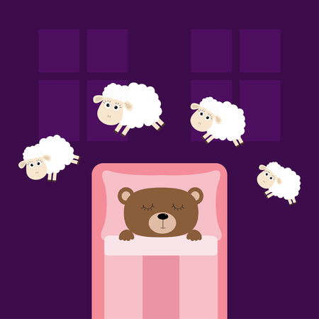 Cute sleeping bear. Jumping sheeps. Cant sleep going to bed concept. Counting sheep. Animal set. Blanket pillow room two windows. Baby collection. Flat design. Violet background. Isolated. Vector