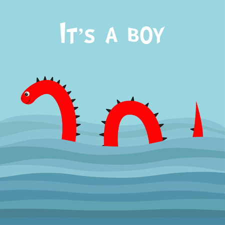 Its a boy. Baby shower. Water monster thorns, eye, tail Swimming floating Sea ocean wave. Snake shape. Loch Ness Nessy fictional creature. Cute cartoon character. Flat design. Blue background. Vector Illustration