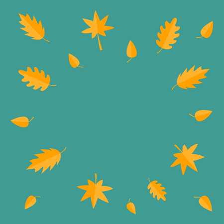 Autumn leaves frame. Yellow orange flying leaf set. Oak, maple, birch, rowan. Wind moving objects. Template for decoration. Green background. Isolated Flat design. Vector illustration Illustration