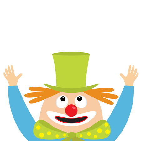 Clown face head looking up. Big eyes, red nose, mouth smile, orange hair, hands. Magician hat. Cute cartoon funny baby character. Circus symbol. Flat design. White background. Isolated. Vector