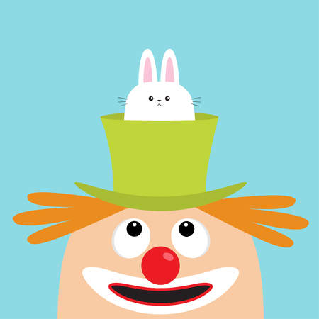 Clown face head looking up. Eyes, red nose, mouth smile, orange hair. Rabbit hare in magician magic hat. Cute cartoon funny baby character. Circus symbol. Flat design. Blue background Isolated Vector