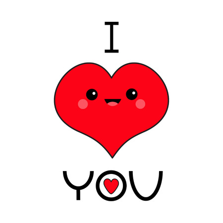 Red heart face head. I love you. Exclamation point. Cute cartoon funny smiling character. Eyes, mouth, blush cheek. Happy Valentines day. Flat design. Greeting card. White background. Vector