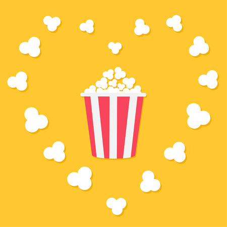 Popcorn popping in heart frame in yellow background.