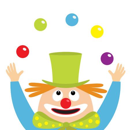 Clown juggler face head looking up juggling balls.