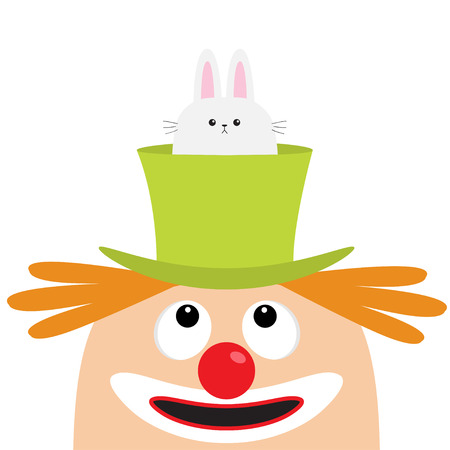 Clown face head looking up. Eyes, red nose, mouth smile, orange hair. Rabbit hare in magician magic hat. Cute cartoon funny baby character. Circus symbol. Flat design. White background Isolated Vector Illustration