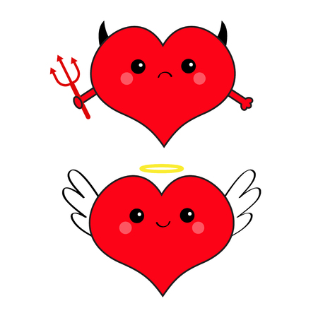 Red heart face head icon set. Devil Angel Evil amour. Trident horn wing nimbus. Cute cartoon character. Happy Valentines day Contour symbol. Flat design. Greeting card. White background. Vector