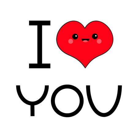 Red heart face head. I love you text.