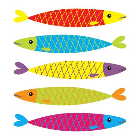 Set di icone di pesce colorate sarde. Iwashi. Sardina pilchardus. Carino personaggio dei cartoni animati. Achovy sardegna. Animale acquatico. Vita marina. Design piatto. Sfondo bianco. Isolato. Illustrazione vettoriale