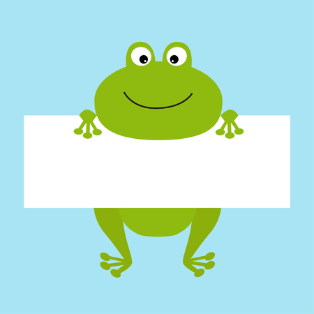 Funny frog hanging on paper board template. Big eyes. Cute cartoon character. Baby card. Flat design style. Blue background Isolated. Vector illustration
