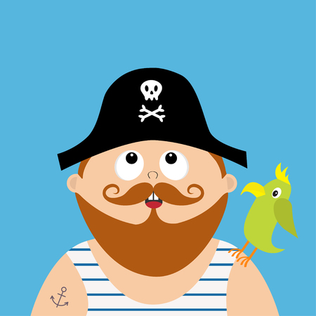 頭蓋骨と黒い帽子をかぶって海賊キャプテン骨フロック一重項を